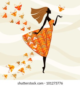 Vector colorful background. Beautiful woman in a bright dress with a pattern of stylized butterflies. Abstract illustration  with concept of fashion and beauty