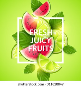 Vector colorful background with fruits.
