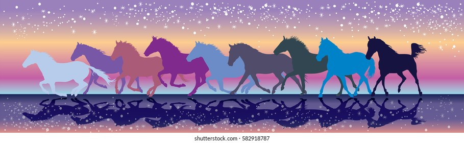 Vector colorful background with horses galloping in the sunset