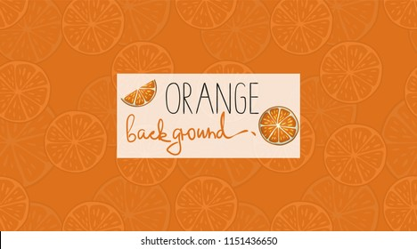 Vector colorful background with orange pieces. Bright pattern for natural organic food design, banner or poster
