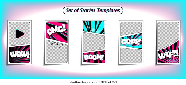 Vector colorful background in pop art retro comic style. Vector trendy editable set of templates for social media networks stories. Modern design backgrounds for flyers, cards, posters.