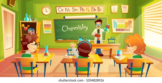 Vector colorful background with school children in classroom at a chemistry lesson. Teacher holds flasks and makes chemical experiment for students in training room. Education concept illustration