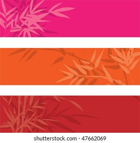 Vector colorful bamboo banners with space for text