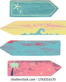 Vector colorful beach arrows with elements and wood texture