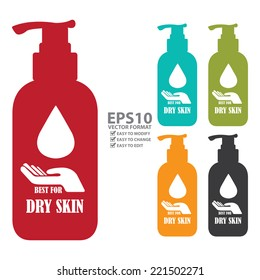 Vector : Colorful Best For Dry Skin Icon, Label or Cosmetic Container Isolated on White Background