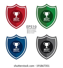 Vector : Colorful Best Protection Shield, Icon, Label, Sticker or Badge Isolated on White Background