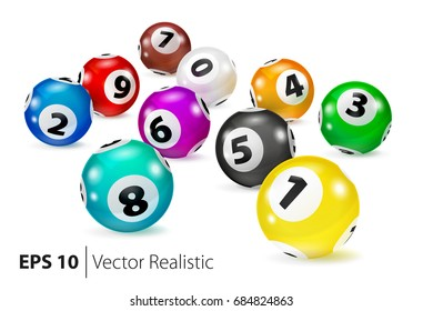 Vector Colorful Bingo balls lie in random order. Lottery Number Balls. Colored balls isolated. Bingo balls with numbers.