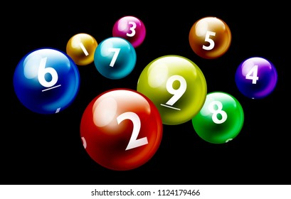 Vector Colorful Bingo / Lottery Number Balls on Black Background From 1 to 9