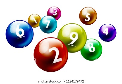 Vector Colorful Bingo / Lottery Number Balls From 1 to 9