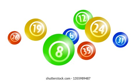 Vector Colorful Bingo Lottery Number Balls Isolated on White Background