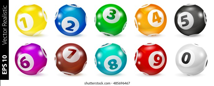 Vector Colorful Bingo Lottery Number Balls 3d. Colored balls isolated. Bingo balls with numbers. Set of colored lotto balls.