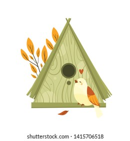 Vector colorful birdhouses, cute birds and nests illustrations, hand drawn isolated on a white background. Autumn season. Fall.