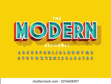 Vector of colorful bold font and alphabet