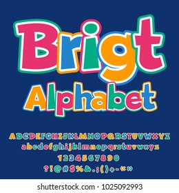 Vector colorful Bright Alphabet for Children. Set of funny Letters, Numbers and Symbols