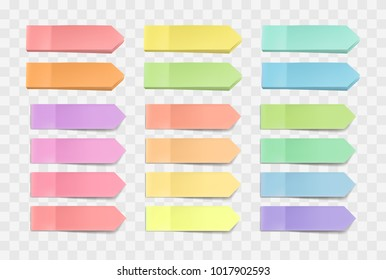 Vector colorful bright sticky notes, pack of stickers with shadows isolated on a transparent background. Multicolor paper adhesive tape, rectangle empty office blanks, reminder lists. Great for banner