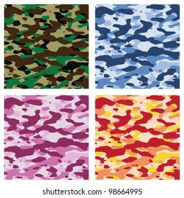 vector colorful camouflage patterns for all seasons. military camoflage texture,