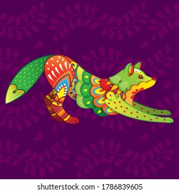 Vector colorful cartoon alebrije fox