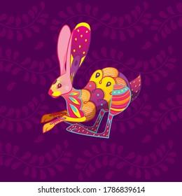 Vector colorful cartoon alebrije rabbit