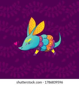 Vector colorful cartoon armadillo alebrije