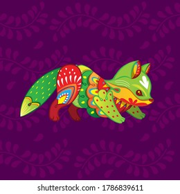 Vector colorful cartoon baby fox alebrije