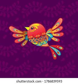Vector colorful cartoon bird alebrije