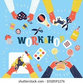 Vector colorful cartoon illustration of creative kids lab, top view table with creative kids hands. Cutting paper, painting and sketching, knitting, embroidery, applique, sawing. Workshop, education.