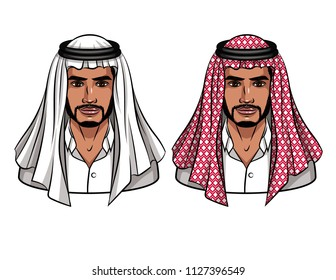 Vector colorful cartoon illustration of muslim man in traditional clothes. Portraits of young arabic businessman