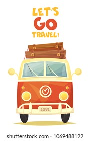 Vector colorful cartoon poster. Retro travel van. Illustration.