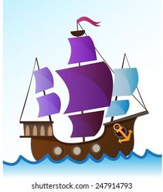 vector colorful cartoon sailing ship on the high seas