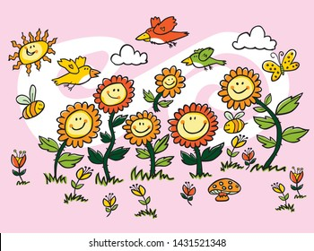 Vector colorful cartoon sunflowers, birds and bees illustration. Suitable for greeting cards and wall murals. For nurseries, kindergarten and hospitals.