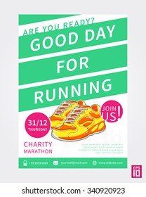 Vector colorful Charity Marathon flyer template with slogan Run For Fun. Business illustration.