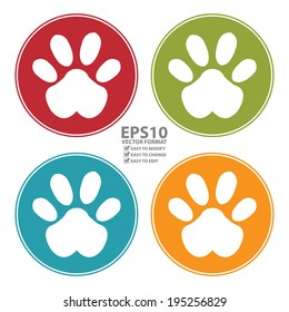 Vector : Colorful Circle Animal or Pet Paw Icon, Sign or Symbol Isolated on White Background