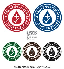 Vector : Colorful Circle Clinically Proven Icon, Sticker or Label Isolated on White Background