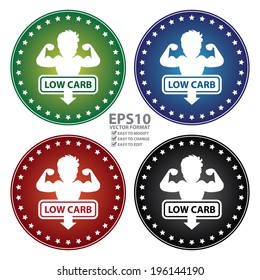 Vector : Colorful Circle Low Carb Sticker, Label or Icon Isolated on White Background