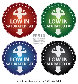 Vector : Colorful Circle Low in Saturated Fat With Bodybuilder or Muscle Man Sign Sticker, Label or Icon Isolated on White Background