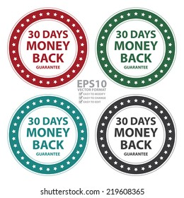 Vector : Colorful Circle Vintage Style 30 Days Money Back Guarantee Icon, Sticker or Label Isolated on White Background