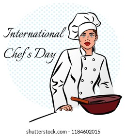 Vector colorful comic art style illustration of a pretty woman in a cook's hat with a plate of food. Illustration for the holiday International cook day.Chef day concept background.