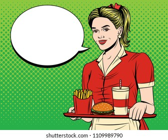 Vector colorful comic pop art style illustration of a beautiful waitress with a tray of fast food. Young smiling girl in apron and american junk food serving an order