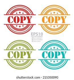 Vector : Colorful Copy Icon,Sticker or Label Isolated on White Background