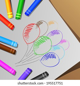 vector of the colorful crayons, draw balloon
