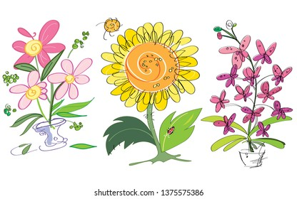 Vector colorful creative sunflower, orchids and pink flowers. Suitable for greeting cards. Cartoon illustration.