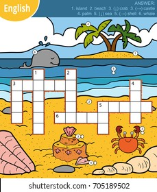 Vector colorful crossword in English, education game for children about sea and animals