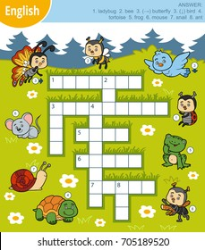 Vector colorful crossword in English, education game for children about animals