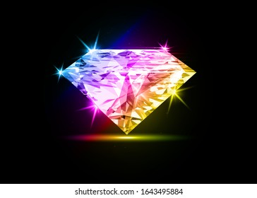 Vector colorful dazzling diamond on black shining background. concept for chossing best diamond gem design. Realistic diamond isolated on black