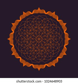 Vector colorful design abstract mandala sacred geometry illustration Seed Flower of life lotus isolated dark brown background.