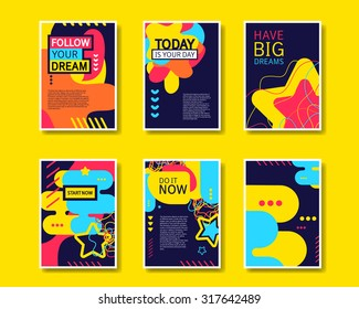 Vector colorful design abstract modern style template collection for banner, flyer, placard, brochure and poster on yellow background.