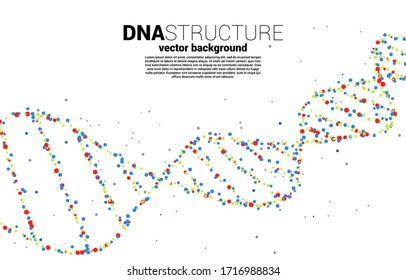 vector Colorful DNA genetic structure from dot random. background concept for biotechnology and biology scientific.