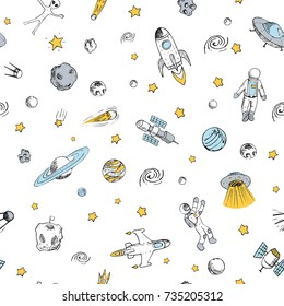 Vector colorful doodle space seamless pattern with space objects. Space ships, rocket, planets, flying saucers, astronauts, stars, comets, ufo etc. Hand drawn style.