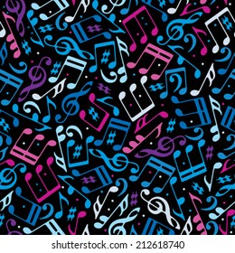 Vector colorful dotted music seamless pattern with musical notes on black background.