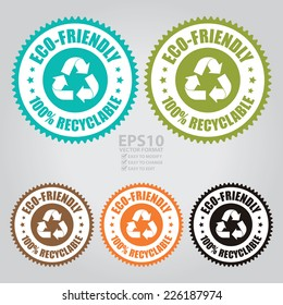 Vector : Colorful Eco-Friendly 100% Recyclable Icon, Sticker, Badge or Label